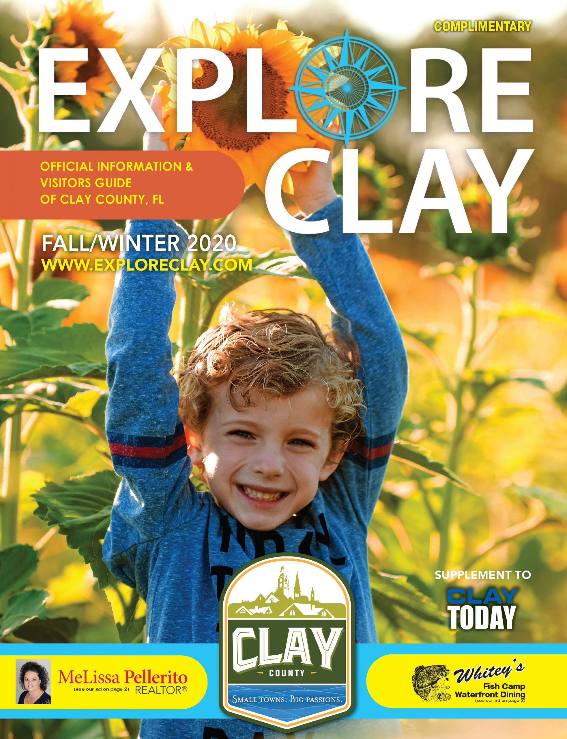 Fall 2020 Explore Clay Visitors Guide Cover Image